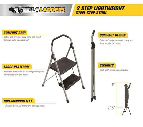 Lightweight 2 Step Stool by Gorilla Ladders 2 Step Lightweight Steel Step Stool Ladder