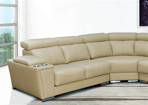 Cream Italian Leather Extra Large Sectional With Cup Large Leather Sectional Sofas