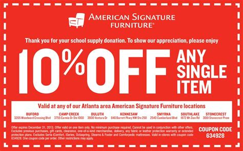 Furniture Discount Code by American Signature Furniture Coupon Print Coupon King