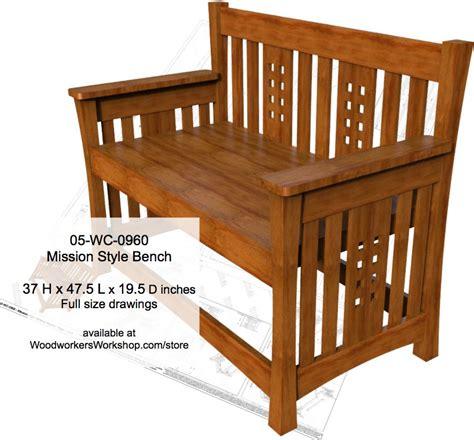 mission bench plans benches indoors at woodworkersworkshop com