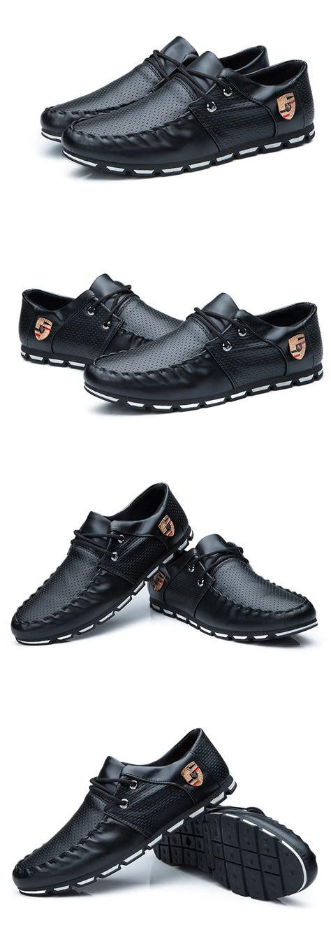 Sepatu Sneakers Hitam Kulit pinsv pria fashion kasual bisnis sepatu kulit berkualitas
