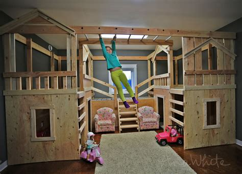 white diy basement indoor playground with monkey