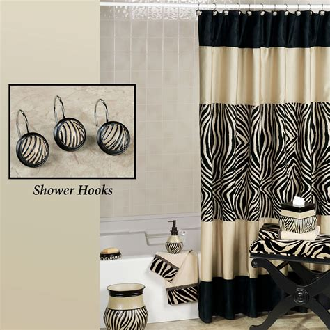 shower curtain and accessories zuma zebra shower curtain and hooks