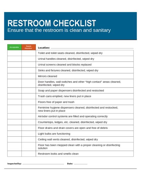 bathroom maintenance checklist daily checklist pdf