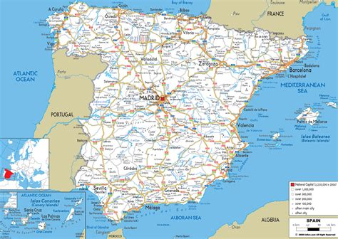map of with cities maps of spain detailed map of spain in tourist map map of resorts of spain road
