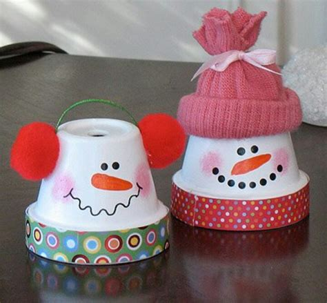 flower pot snow man christmas crafts pinterest