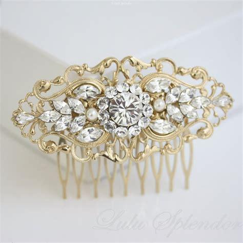 gold bridal comb art deco wedding accessories by