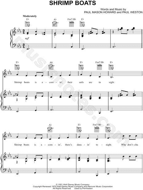 shrimp boat song lyrics jo stafford quot shrimp boats quot sheet music in eb major