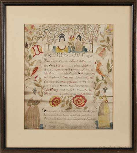 York County Pa Birth Records 17 Best Images About Fraktur On Folk Auction And Marriage Certificate