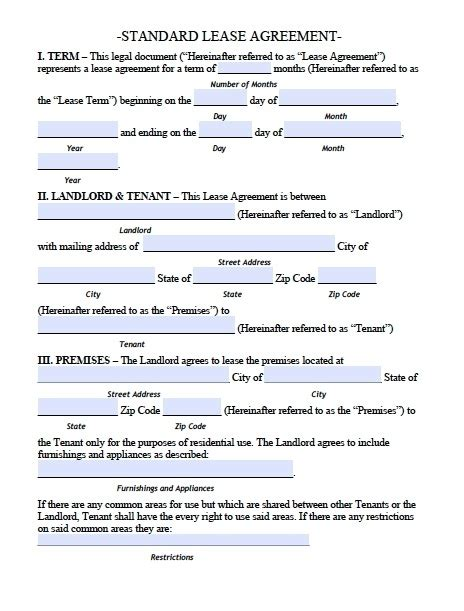 free apartment lease agreement template printable sle residential lease agreement template form