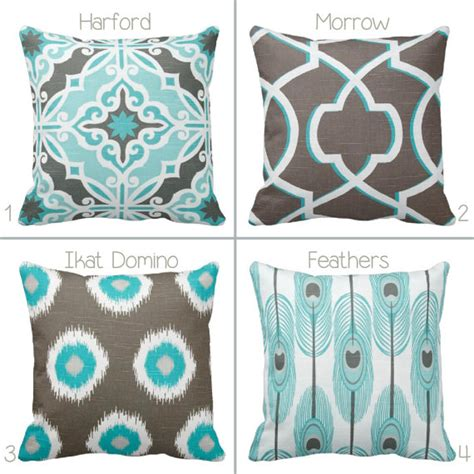 Aqua And Brown Throw Pillows Grey Brown And Aqua Throw Pillow Cover By Primal Vogue
