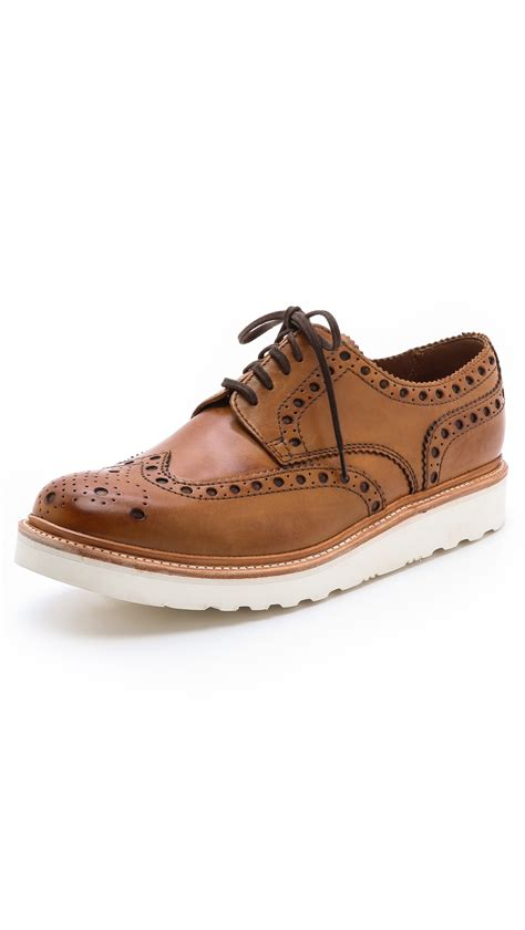 wingtip shoes grenson archie wingtip shoes in brown for lyst