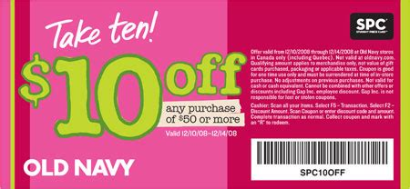 old navy coupons in store canada old navy canada coupon 10 off 50 canadian freebies