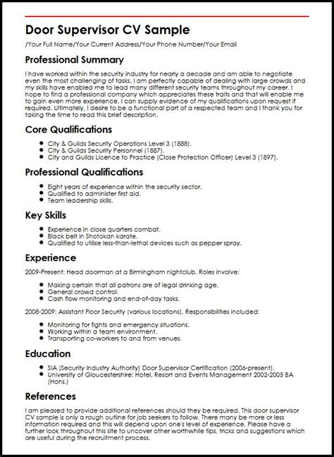 Sample Resume With Objectives For Teachers by Door Supervisor Cv Sample Myperfectcv
