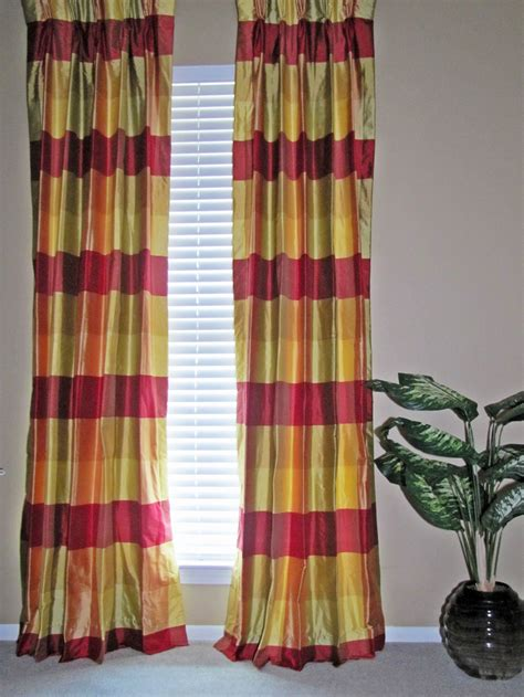 plaid draperies plaid curtains