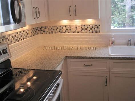 Kitchen Backsplash Accent Tile Subway Tiles With Mosaic Accents Cottage Beveled Subway Tiles Gilman Re Do Pinterest