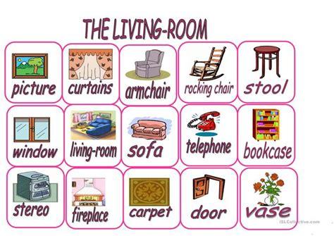 Things You Find In A Living Room In Living Flashcards Worksheet Free Esl Printable
