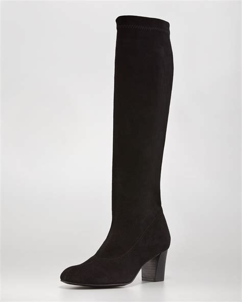 robert clergerie passac stretch suede boot black