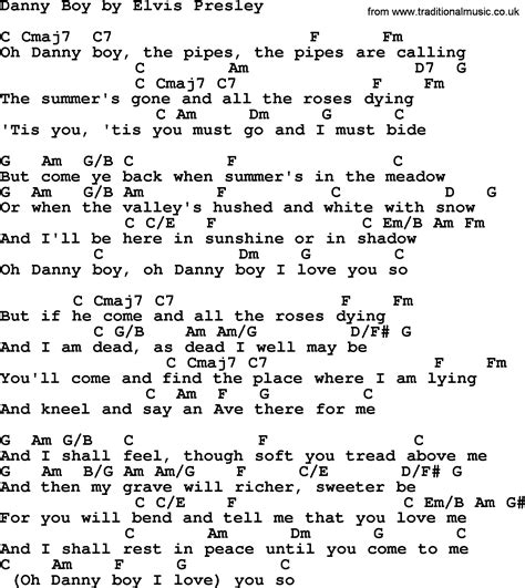 boy oh boy song danny boy by elvis presley lyrics and chords