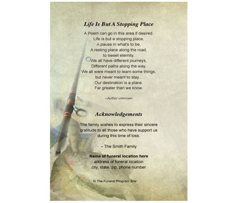 memorial cards fishing small funeral card template