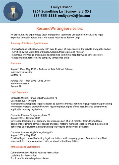 Patent Trainee Sle Resume by Professional Lawyer Resume Sle Resume Writing Service