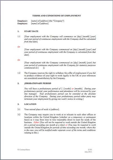 contract for employment template contract of employment free printable documents