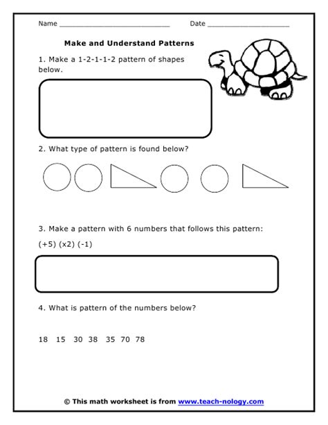 Grade 4 Patterns Worksheets by Make And Understand Patterns