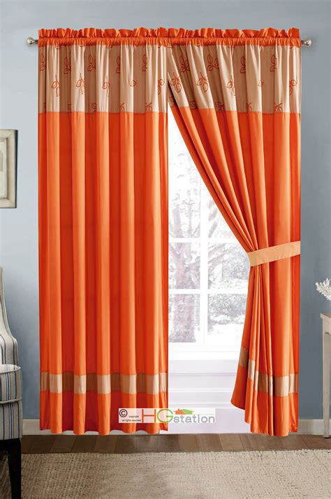 tan sheer curtains 4 pc darci embroidery tripartite leaves curtain set orange