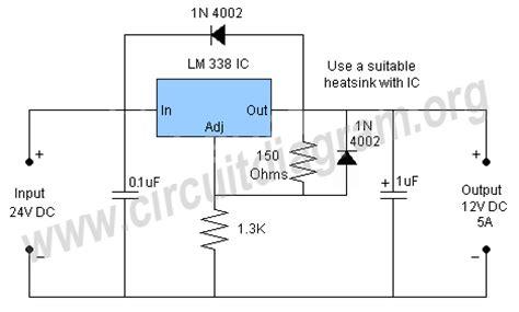 24v to 12v using resistor 24v to 12v converter circuit diagram
