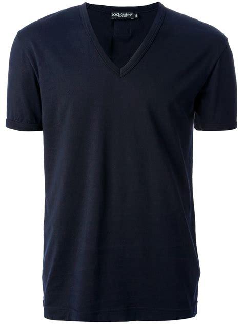 Black V lyst dolce gabbana vneck tshirt in blue for