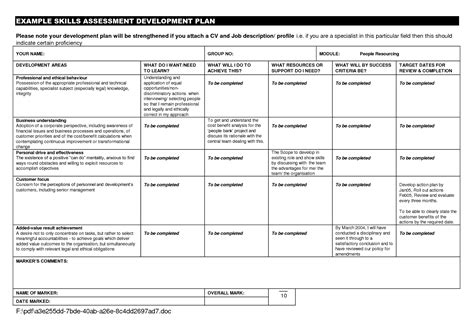 template of personal development plan personal development plan exle for students