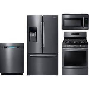 kitchen appliances packages deals samsung 4 piece kitchen package with nx58j5600sg gas range rf263beaesg refrigerator