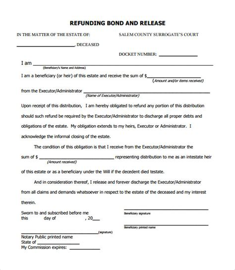 Employment Bond Letter Sle Bond Release Form 12 Documents In Pdf Word