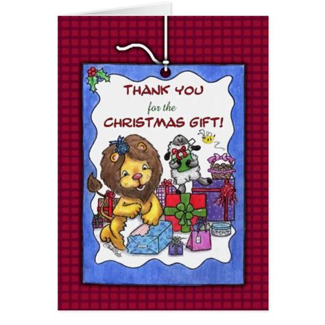 thank you for christmas gift lion and lamb card zazzle