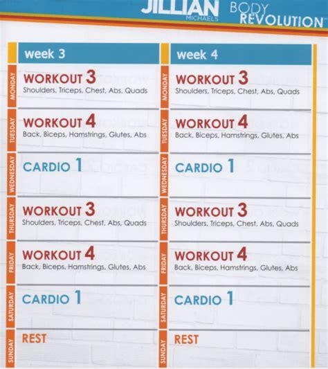 Jillian Michaels Body Revolution 4 Day Rotation Diet Template
