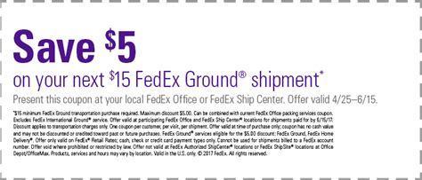 Fedex Office Coupon by Fedex 5 A 15 Ground Shipment Coupon