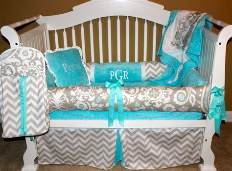 Custom Crib Bedding Peyton Set 6 Pc Set Chevron Tiffany Handmade Crib Bedding