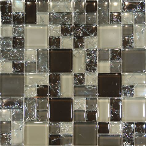 Glass Mosaic Kitchen Backsplash 10sf Brown Beige Gray Square Pattern Crackle Glass Mosaic Tile Backsplash Ebay