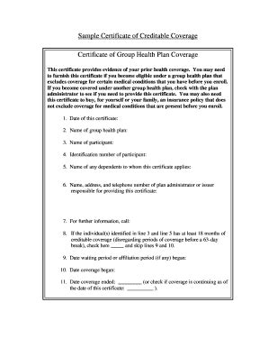 Sle Certificate Creditable Coverage Fill Online Printable Fillable Blank Pdffiller Proof Of Loss Of Coverage Letter Template