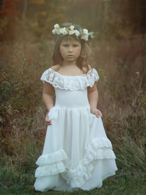 Rustic Lace Flower Girl Dress Long Ivory Lace Dress Lace Country Style Wedding Dresses With Boots
