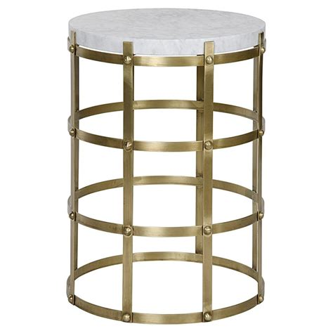 modern brass table antonia modern antique brass metal cage round side table
