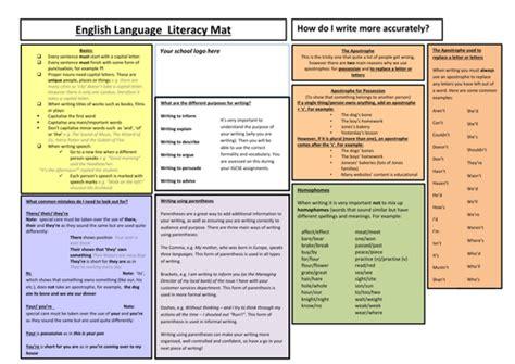 Literacy Mats Ks3 by Sided Literacy Mat For Ks3 And Ks4 By Nikihb