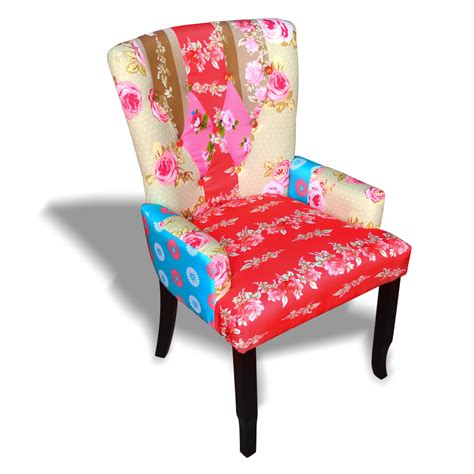 patchwork chair upholstered armrest relax multi colored