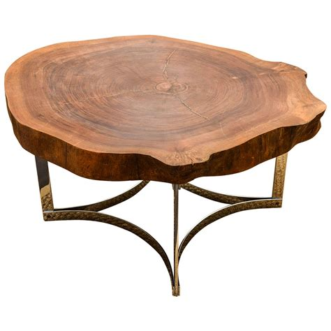 Live Edge Table on Modernist Chrome Base For Sale at 1stdibs