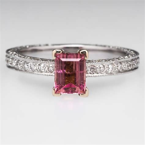 emerald cut pink tourmaline ring w diamonds 14k white gold