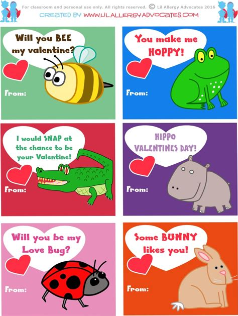 free printable animal valentines day cards free kids valentine printables lil allergy advocates