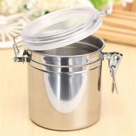 Airtight Spice Containers Durable Stainless Steel Canister Airtight Sealed Canister