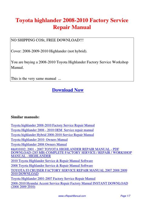 how to download repair manuals 2007 toyota highlander hybrid electronic valve timing toyota highlander 2008 2010 factory service repair manual pdf by david zhang issuu
