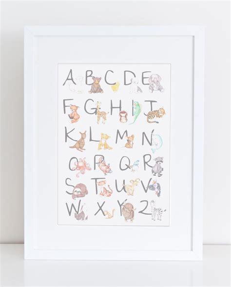 printable alphabet letters nursery animal alphabet nursery art print animal illustration for