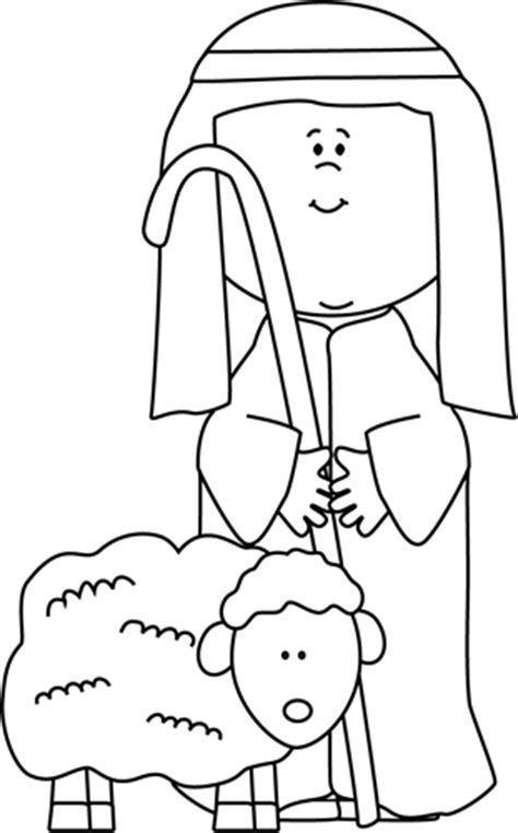 coloring page shepherds christmas black and white shepherd with sheep clip art black and